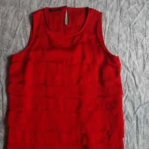 Anne Klein red layered ruffle blouse tank size S
